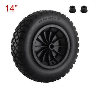 "14"" PU Wheelbarrow BLACK Solid Wheel Trolley Tyre Light Weight Foam High Quality"