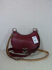 NWT Tory Burch Coffee Berry Red James Small Saddle Bag $598