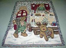Boyds Bears Elfbeary Workshop Christmas Tapestry Afghan Throw
