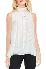 Blouse Top Vince Camuto Ivory Gold Print High Neck Swing S UK 10 12 Flawless