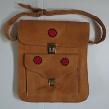 037089045f06 VINTAGE 1970s TAN LEATHER HAND TOOLED SHOULDER BAG - BOHO - HIPPY - EGYPTIAN