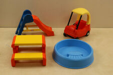 Lot Little Tikes Doll House Cozy Coupe, Slide, Pool , and Picnic Table Toys