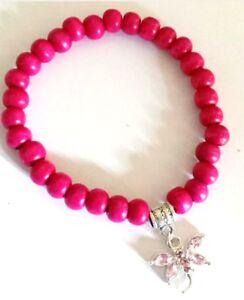 Bracelet - Elastic Pink 8mm Wooden Beads Rhinestone Dragonfly Charm