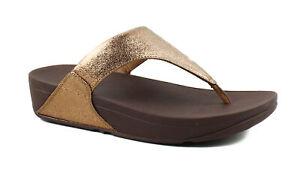 FitFlop Womens Lulu Molten Metal Thong Comfort Flip Flops Sandals