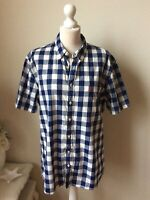 "JOULES Navy White Check Short Sleeve Shirt Size Large Pit To Pit 24"" Slim Fit"