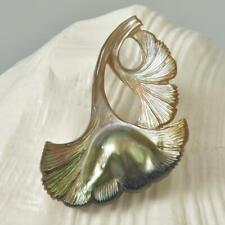 Mabe Blister Pearl in Shell Iridescent Gingko Leaf Carving Handmade 11.57 g