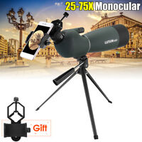 Zoom 25-75X70 Angled Spotting Scope Optical Prism Monocular Waterproof W/ Tripod