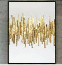 More details for large modern painting textured art hand painted white minimal gold  abst canvas