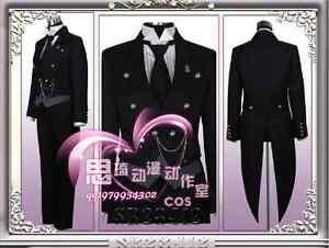 Black Butler Kuroshitsuji Sebastian Michaelis Cosplay Costume Uniform +Track