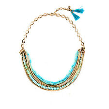 Turquoise Beads Brand Design ISA DISC NECKLACE Vintage Gold Chain Layered Jewel