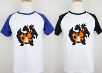 Charmander Charmeleon Charizard Print Mens Short Sleeve T-Shirt Graphic Tee Tops
