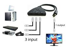 "3 in 1 HDMI Switcher 3 input to 1 output Converter Splitter W/ 22"" Pigtail Cable"