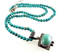 Sterling Silver Turquoise Necklace Signed