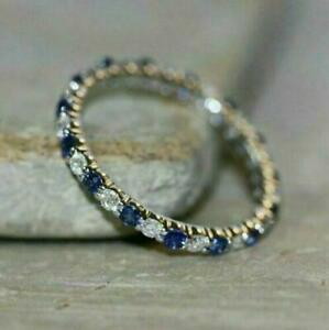 1.20Ct Round Cut Blue Sapphire Wedding Band Ring Solid 14K White Gold Finish