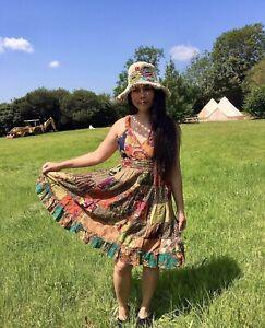 Beautiful Lightweight patchwork Dress sundress - boho hippy festival summer 8-12