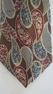 "Spencer & Lowe Men's 100% Silk Paisley Neck Tie Brown Multi 3 7/8""x 58"""