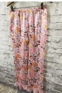 Victoria's Secret Satin Pajama Floral Sleep Bottom w/ Pockets  Large  NWT