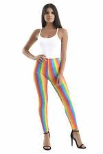Ladies Girl Rainbow Striped Neon Leggings Clown Gay Pride Parade Carnival Outfit