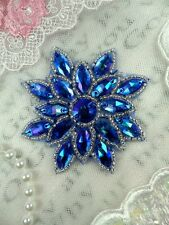Glass Snowflake Applique Aurora Borealis Saphire Blue Silver Beaded (N19-saab)