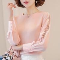 Long Sleeve Ladies Office Shirt Korean Fashion Lace Hollow Out Women Top Elegant