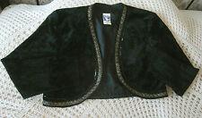 Vintage short black crushed velvet jacket YESSICA C&A Size 16 44 Gold braid trim