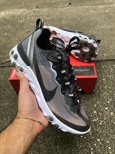 Nike React Element 87 Anthracite Black White Aq1090 001 Mens Sz 9