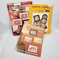 3 Vtg Cross Stitch Needlepoint Pattern Book Lot Craft Charts Asian Floral Clowns