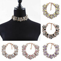 RHINESTONE CRYSTAL FLOWERS CHOKER COLLAR CHUNKY STATEMENT BIB NECKLACE ORNAMENTS