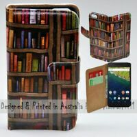 For Google Pixel Series - Bookshelf Theme Print Wallet Mobile Phone Case Cover