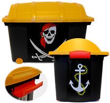 XXL Piratenbox Aufbewahrungsbox Pirat Truhe Schatzkiste Rollbox Box Schatztruhe