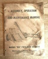 Vintage Minneapolis Moline 2 row husker model RH Assembly Operation Maint Manuel