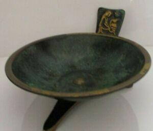 Taya Jerusalem Brass Kneeling Woman Footed Dish Bowl Vintage Made In Israel
