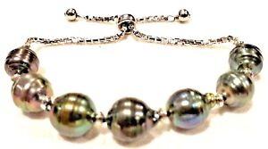 Sterling silver bolo bracelet with big real grey pearls