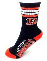 Cincinnati Bengals Football Black Deuce 4 Stripe Youth Socks