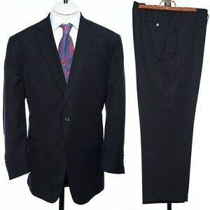 50R Jos. A. Bank Signature Black Pinstriped Wool Two-Piece Suit 44x29 Trousers