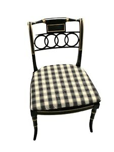 Baker Furniture Dining or Side Chair ~ English Regency Style ~ Black Lacquer