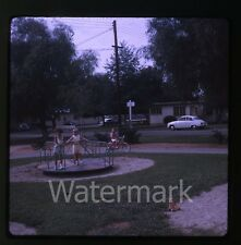 1960s amateur Kodachrome  Photo slide girls at playground boy on bike  cars auto