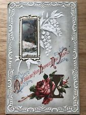 Antique Postcard Embossed Happy New Year Red Rose Hourglass Snow Scenes