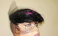 Ladies BLACK AND FUCHSIA FEATHER Tea Hat Cocktail  Fascinator DERBY ONE SIZE