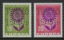 Germany 2 stamps with TOKYO / 1964 Perfins Lochungen on Europa Issues, VF-NH