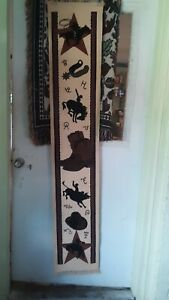 Western Cowboy, Bronco, Boots, Spurs, Stars, and Brands Table Runner/Wall Tapest
