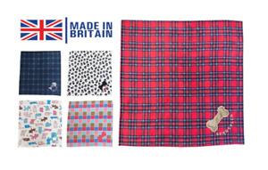 Personalised Pet Blanket Dogs Cats Fleece Handmade Tartan Print Puppy Kitten UK