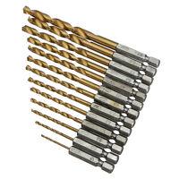 13X HSS High Speed Steel Drill Bit Set 1/4'' Hex Shank Titanium 1.5-6.5mm Bits
