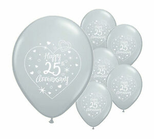 """10 x 25th SILVER ANNIVERSARY 12"""" HELIUM QUALITY PEARLISED BALLOONS (PA)"""