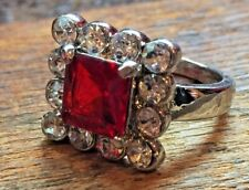 Costume Jewelry Square Cut Cocktail Ring Red & Clear Cubic Zirconia Rhinestones
