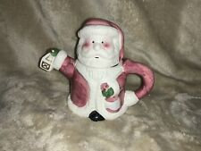 Decorative Collectibe SANTA TEAPOT Holding Lantern & Rose Whimsical Gift