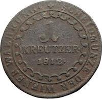 1812 AUSTRIA w Emperor Franz II Hapsburg Antique Kreuzer Austrian Coin i74563