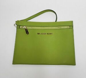 New Michael Kors Green Jet Set Travel Pouch Wristlet Purse Clutch
