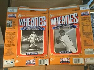 Babe Ruth Willie Mays Lou Gehrig Wheaties Cereal Box 1993 3 Flattened 60 yrs BB