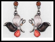 Boucles d oreilles PAPILLON orange rose strass cristal bijoux fantaisie noel